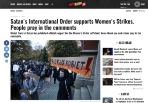 """""""Satan's International Order supports Women's Strike, people pray in the comments"""" - Antyradio"""
