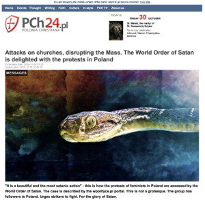 """""""Attacks on churches, disrupting the Mass. The World Order of Satan is delighted with the protests in Poland"""" PCh24.pl"""