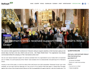 """""""The Womens Strike received support from Satan's World Order"""" Stefczyk"""