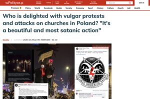 """""""Who is delighted with vulgar protests and attacks on churches in Poland? It's the most beautiful and Satanic action"""" - wPolityce"""